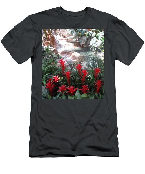 Men's T-Shirt (Slim Fit) featuring the photograph Interior Decorations Water Fall Flowers Lights Shades by Navin Joshi