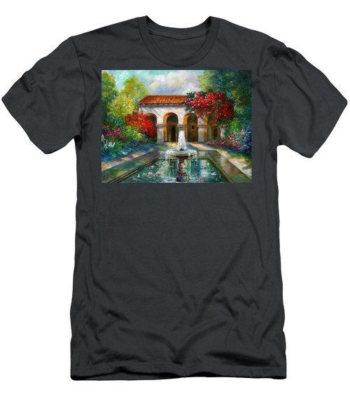 Italian Abbey Garden Scene With Fountain Men's T-Shirt (Athletic Fit)