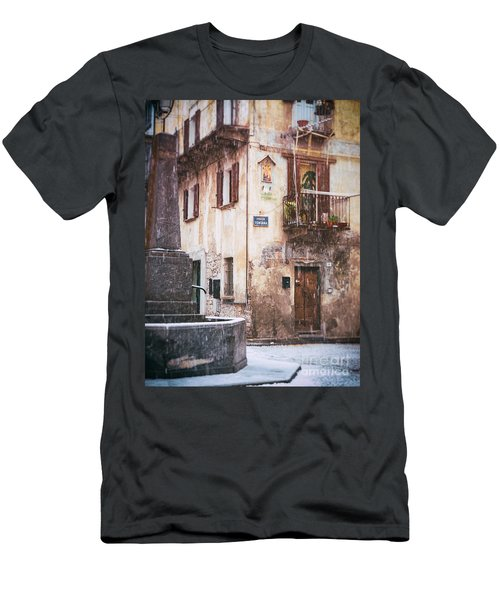 Men's T-Shirt (Slim Fit) featuring the photograph Italian Square In  Snow by Silvia Ganora