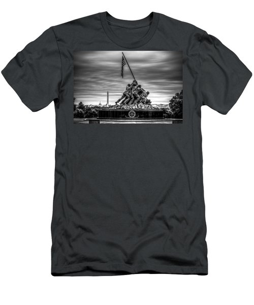 Iwo Jima Monument Black And White Men's T-Shirt (Athletic Fit)