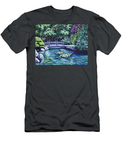 Men's T-Shirt (Slim Fit) featuring the painting Japanese Garden Bridge San Francisco California by Penny Birch-Williams