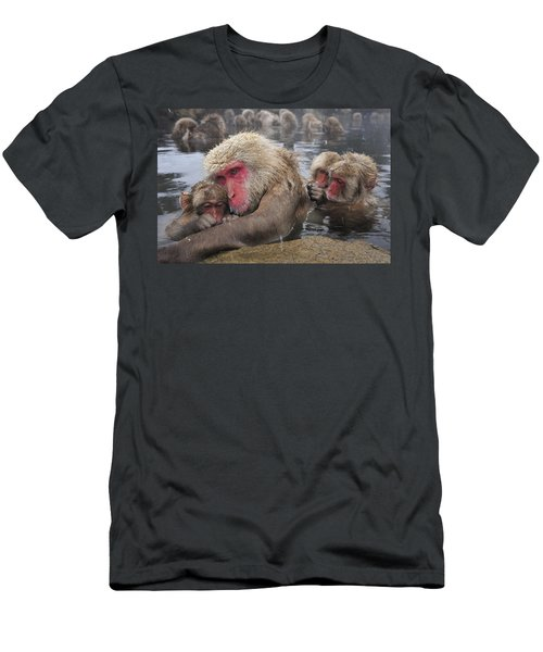 Men's T-Shirt (Athletic Fit) featuring the photograph Japanese Macaque Grooming Mother by Thomas Marent
