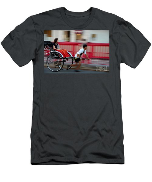 Japanese Tourists Ride Rickshaw In Tokyo Japan Men's T-Shirt (Athletic Fit)