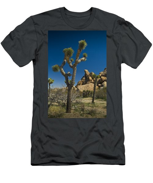 California Joshua Trees In Joshua Tree National Park By The Mojave Desert Men's T-Shirt (Slim Fit) by Randall Nyhof