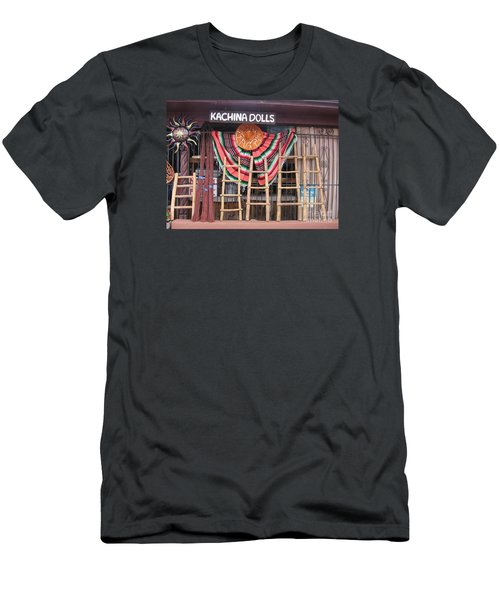 Men's T-Shirt (Slim Fit) featuring the photograph Kachina Dolls Local Store Front by Dora Sofia Caputo Photographic Art and Design