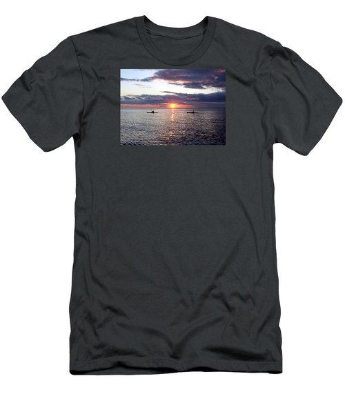 Kayaks At Sunset Men's T-Shirt (Slim Fit) by David T Wilkinson