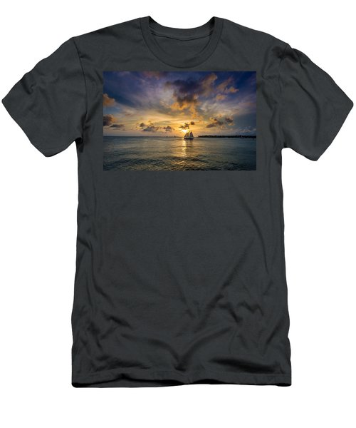 Key West Florida Sunset Mallory Square Men's T-Shirt (Athletic Fit)