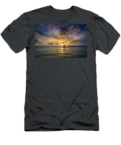 Key West Florida Sunset Mallory Square Men's T-Shirt (Athletic Fit)