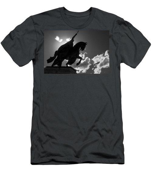 King Horseback Statue Black White Men's T-Shirt (Athletic Fit)
