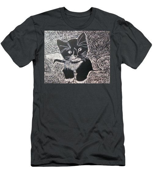 Men's T-Shirt (Slim Fit) featuring the drawing Kitty In Blanket by Lisa Brandel