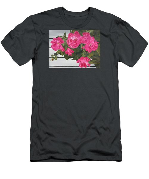 Men's T-Shirt (Slim Fit) featuring the painting Knock Out Roses by Wendy Shoults