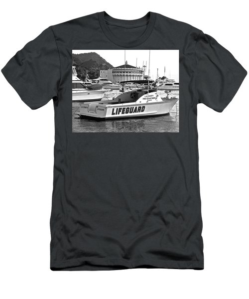 L A County Lifeguard Boat B W Men's T-Shirt (Slim Fit)