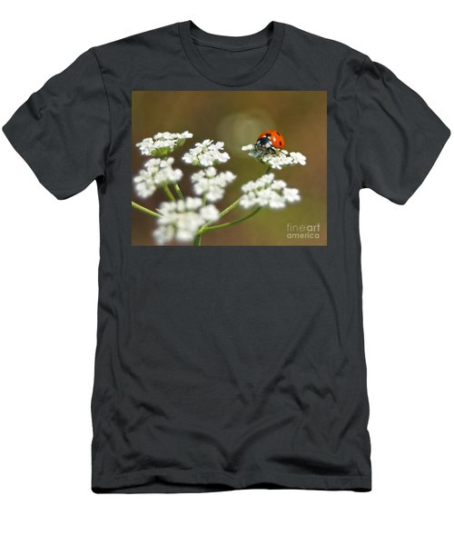Ladybug In White Men's T-Shirt (Athletic Fit)