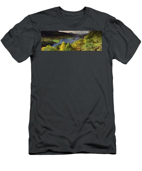 Lake Flowing Through A Forest, Loch Men's T-Shirt (Athletic Fit)