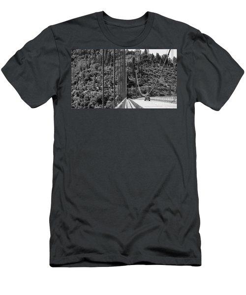 Lake Oroville Bridge Black And White Men's T-Shirt (Athletic Fit)
