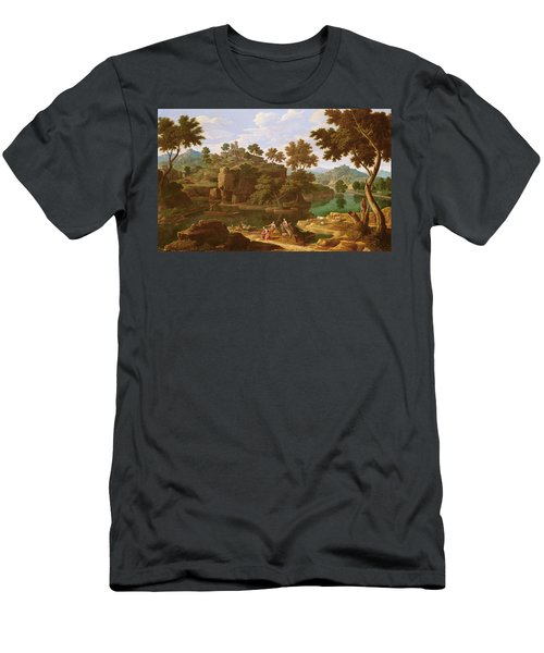 Landscape With A River Oil On Canvas Men's T-Shirt (Athletic Fit)