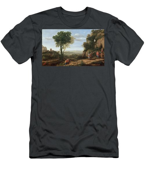 Landscape With David At The Cave Of Abdullam, 1658 Oil On Canvas Men's T-Shirt (Athletic Fit)