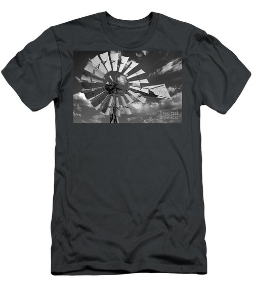 Large Windmill In Black And White Men's T-Shirt (Athletic Fit)