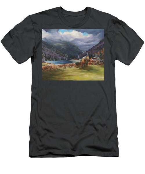 Last Train To Crawford Notch Depot Men's T-Shirt (Slim Fit) by Nancy Griswold