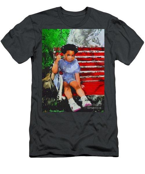Men's T-Shirt (Slim Fit) featuring the painting Lauren On The Swing by Vannetta Ferguson