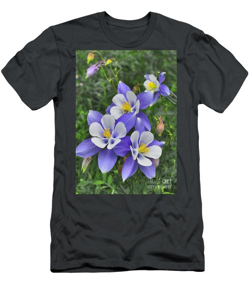 Men's T-Shirt (Athletic Fit) featuring the digital art Lavender And White Star Flowers by Mae Wertz
