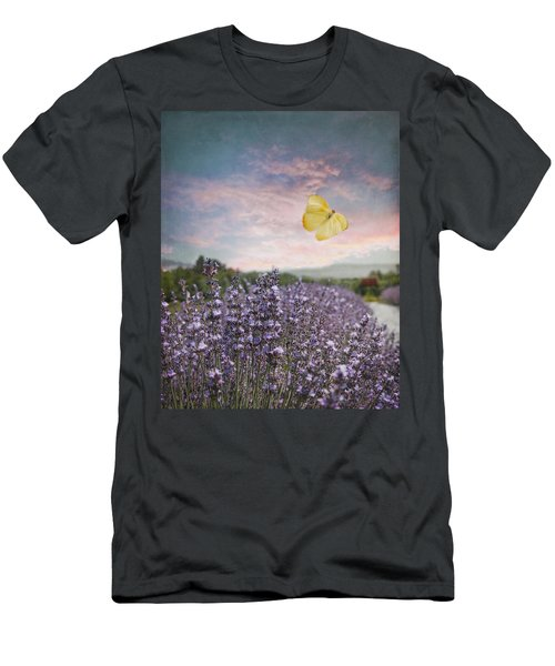 Lavender Field Pink And Blue Sunset And Yellow Butterfly Men's T-Shirt (Slim Fit) by Brooke T Ryan