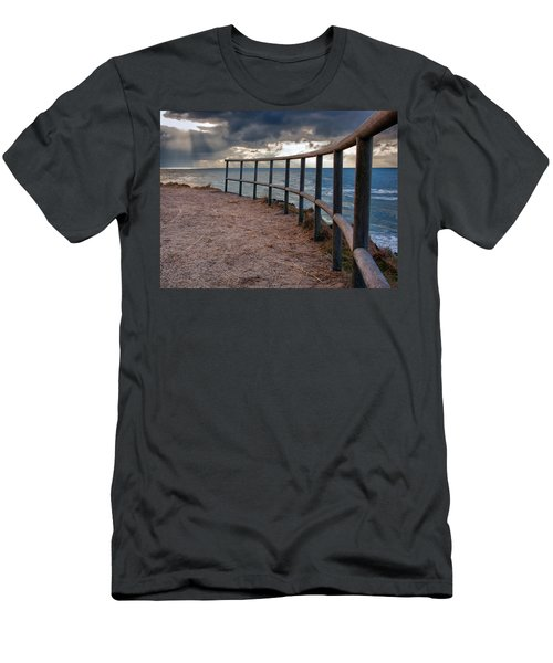 Rail By The Seaside Men's T-Shirt (Slim Fit) by Mike Santis