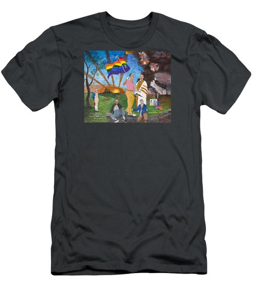 Men's T-Shirt (Slim Fit) featuring the painting Leading Obama Left by Mark Robbins