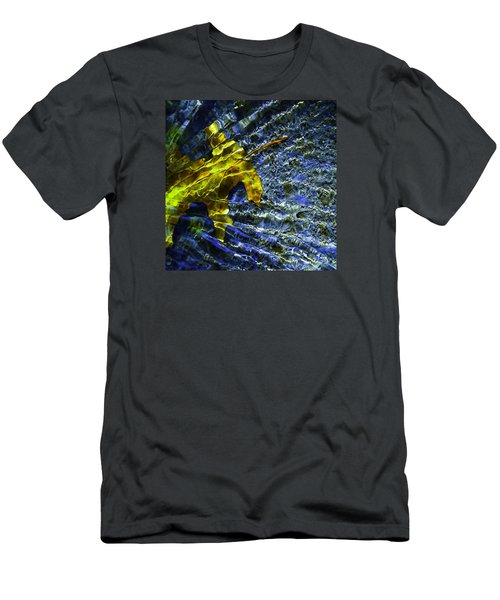 Men's T-Shirt (Slim Fit) featuring the photograph Leaf In Creek - Blue Abstract by Darryl Dalton