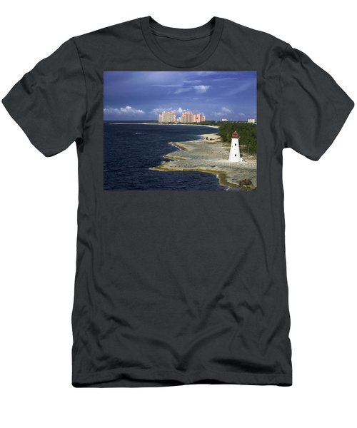 Lighthouse On Colonial Beach With Atlantis Paradise Resort Bahamas Men's T-Shirt (Athletic Fit)