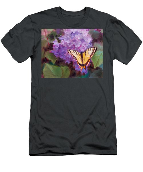 Lilacs And Swallowtail Butterfly Purple Flowers Garden Decor Painting  Men's T-Shirt (Athletic Fit)