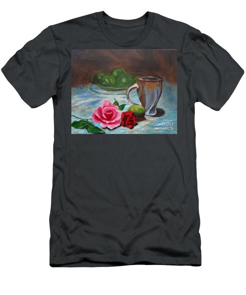 Men's T-Shirt (Slim Fit) featuring the painting Limes And Roses by Jenny Lee