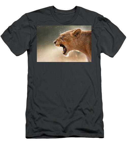 Lioness Displaying Dangerous Teeth In A Rainstorm Men's T-Shirt (Slim Fit) by Johan Swanepoel