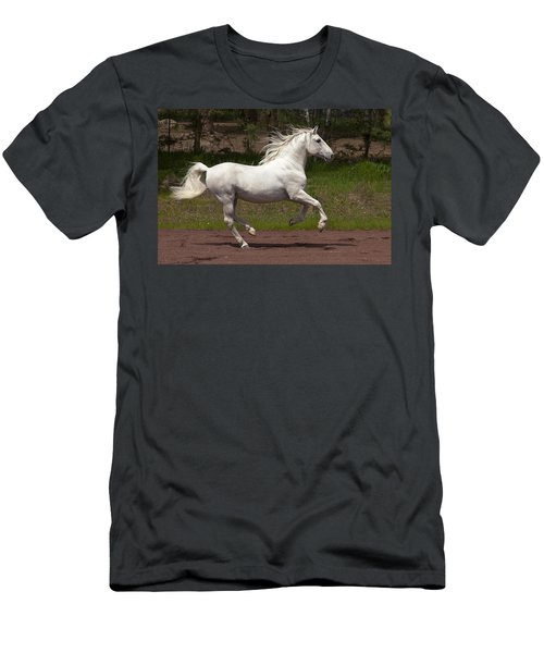 Men's T-Shirt (Slim Fit) featuring the photograph Lipizzan At Liberty D5809 by Wes and Dotty Weber
