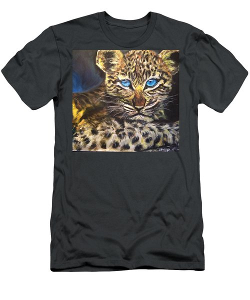 Men's T-Shirt (Slim Fit) featuring the painting Little Blue Eyes by Belinda Low