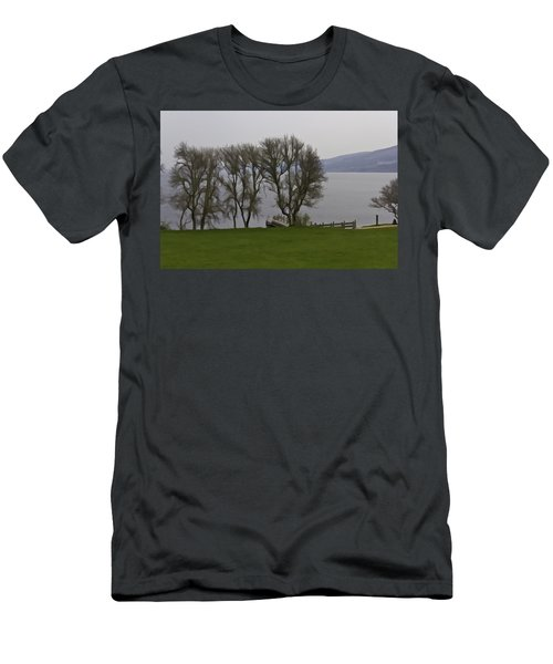 Loch Ness And Boat Jetty Next To Urquhart Castle Men's T-Shirt (Athletic Fit)