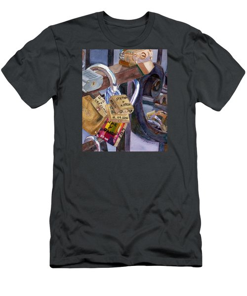 Men's T-Shirt (Athletic Fit) featuring the painting Locks Of Luck by Lynne Reichhart