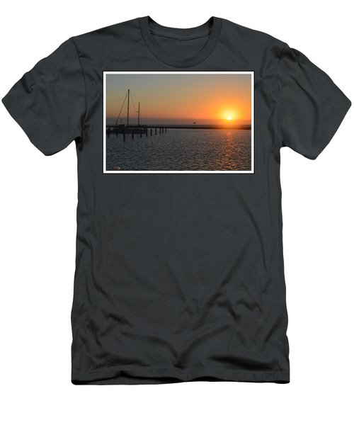 Lone Bird At The Marina Men's T-Shirt (Slim Fit) by Leticia Latocki