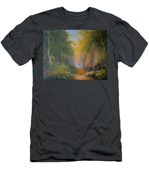 Lord Of The Rings Fangorn Treebeard Merry And Pippin Men's T-Shirt (Slim Fit) by Joe  Gilronan