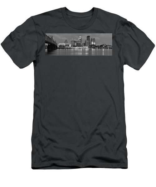 Louisville Skyline At Dusk Sunset Bw Black And White Panorama Kentucky Men's T-Shirt (Athletic Fit)