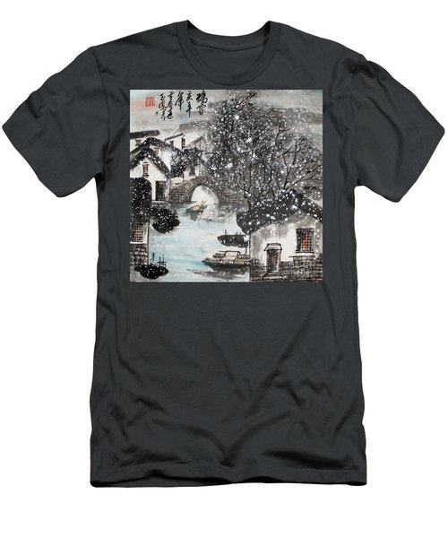 Men's T-Shirt (Slim Fit) featuring the painting Lucky Snow  by Yufeng Wang