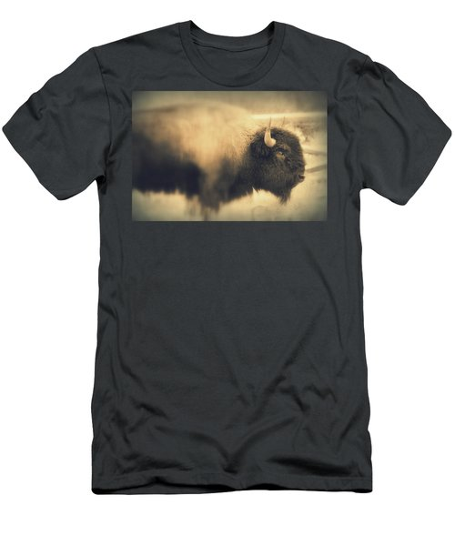 Men's T-Shirt (Slim Fit) featuring the photograph Lucky Yellowstone Buffalo by Lynn Sprowl