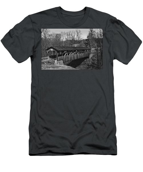 Luther's Mill Covered Bridge Black And White Men's T-Shirt (Athletic Fit)