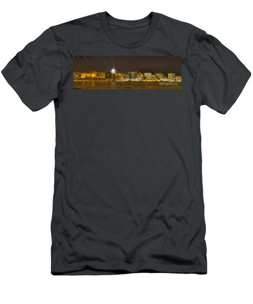 Madison - Wisconsin City  Panorama - No Fireworks Men's T-Shirt (Slim Fit) by Steven Ralser