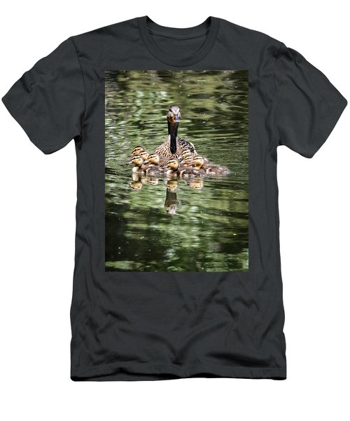 Mallard Hen With Ducklings And Reflection Men's T-Shirt (Athletic Fit)