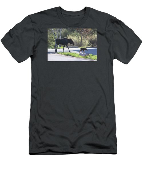 Mama And Baby Moose Men's T-Shirt (Slim Fit) by Fiona Kennard