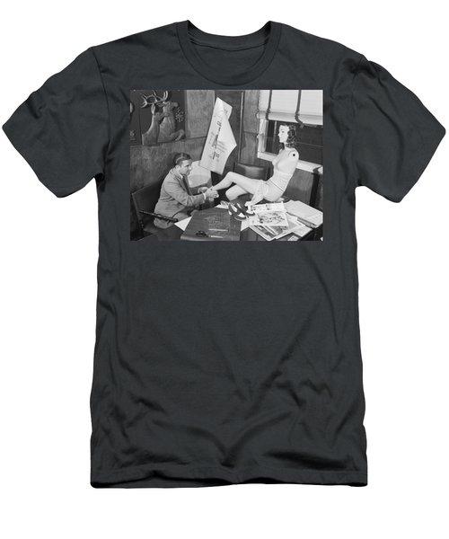 Man Adjusting A Mannequin Men's T-Shirt (Athletic Fit)