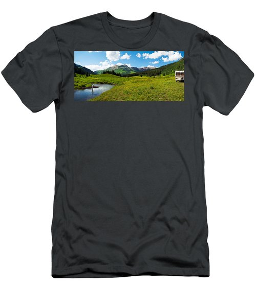 Man Camping Along Slate River, Crested Men's T-Shirt (Athletic Fit)