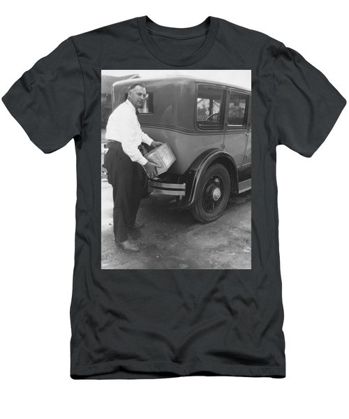 Man Filling Car With Fuel Men's T-Shirt (Athletic Fit)