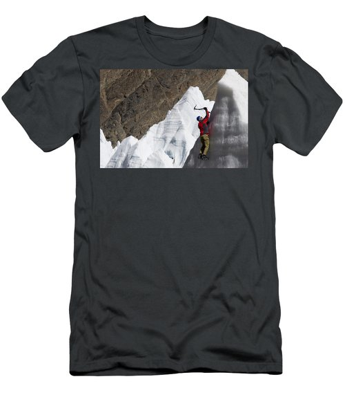 Man Ice Climbing On Glacier, Tibet Men's T-Shirt (Athletic Fit)